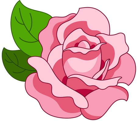 Beautiful illustration with pink rose flower, isolated Stock Vector - 10553134