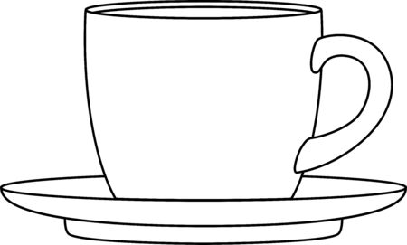 teacup: Vector illustration of a cup and saucer, isolated