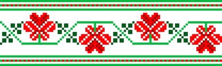 national border: illustration of Ukrainian embroidery ornaments with geometric motives