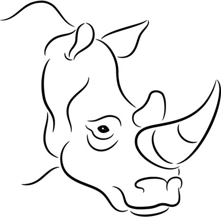 Illustration of a rhinoceros silhouette, isolated Vector