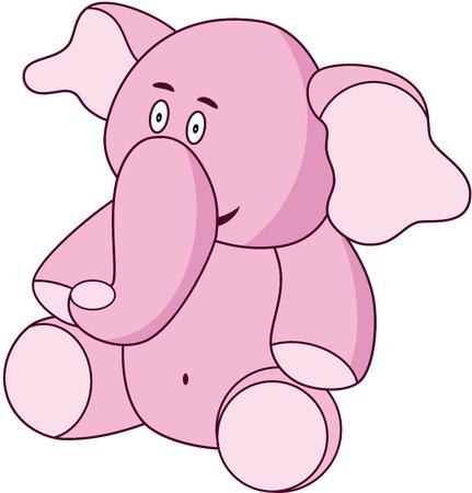 A lovable pink cartoon elephant, isolated. illustration Vector