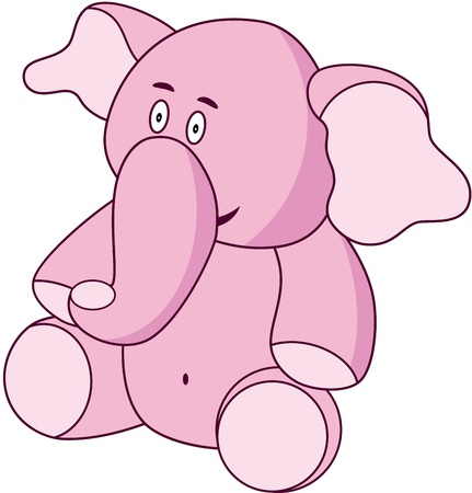 A lovable pink cartoon elephant, isolated. illustration