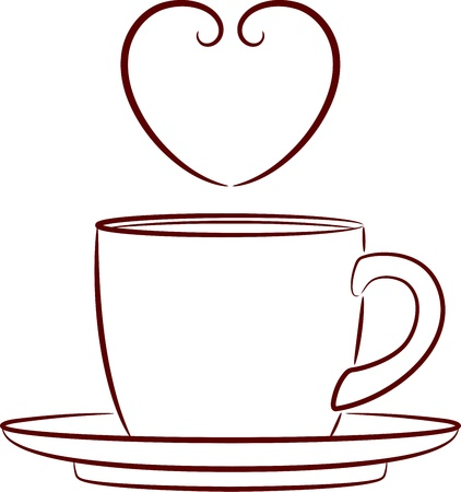 teacup: Vector illustration of a coffee cup and saucer, isolated Illustration