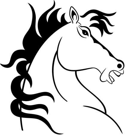 Illustration of a horse head silhouette, isolated Vector