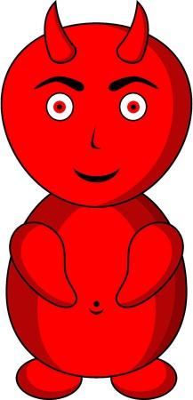 diabolical: Illustration of red devil, isolated Illustration