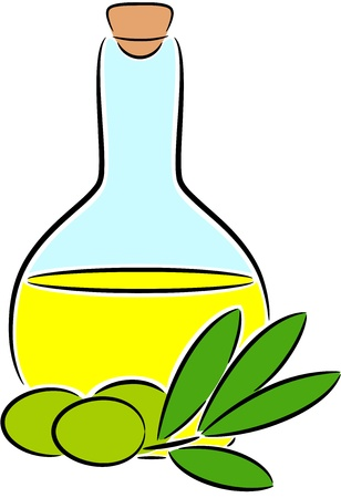 ailment: Illustration of olive oil in bottle, isolated