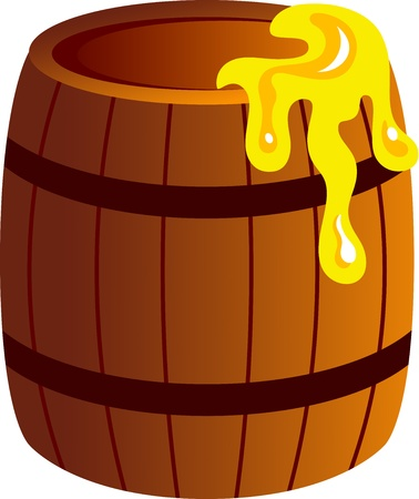 ailment: Illustration of barrel with honey, isolated Illustration