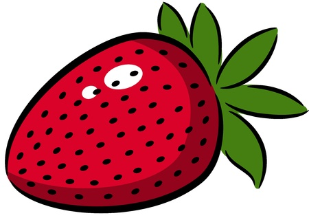 fruit clipart: illustration of a strawberry logo or label