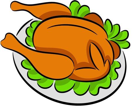 pollo arrosto: Illustrazione di pollo alla griglia in un piatto, isolato Vettoriali