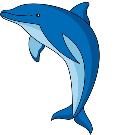 illustration of a cute dolphin, isolated Ilustração