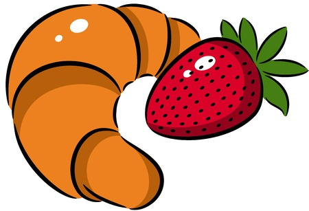 Illustration of croissant and strawberry, isolated Stock Vector - 13898202