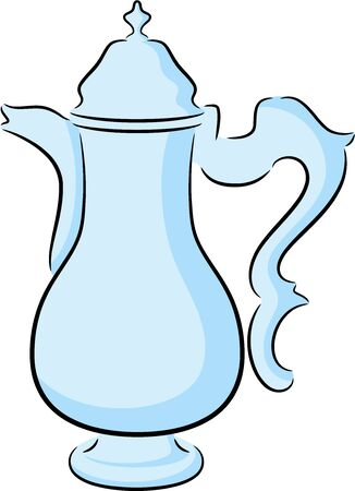 coffeepot: Beautiful illustration of a cute coffeepot, isolated