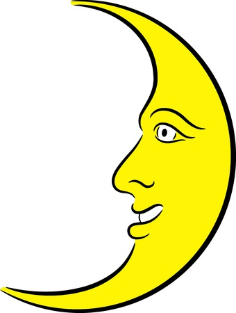 Illustration of a yellow crescent moon, isolated Vector
