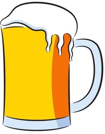Cartoon illustration of a big beer mug, isolated