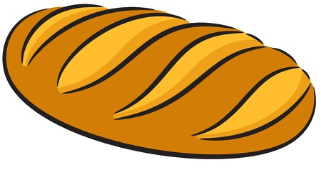 loaf of bread: Colored illustration of a bread, isolated