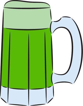 Illustration of green beer tankard, isolated. Stock Vector - 15255113