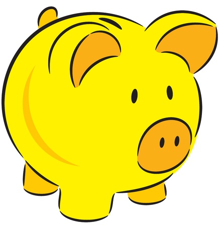 illustration of yellow piggy bank, isolated Vector