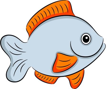 Illustration of a cartoon exotic fish, isolated