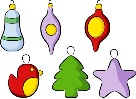 Set of different Christmas toys, isolated Stock Vector - 17133770