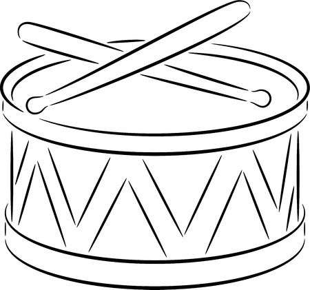 drum sticks: illustration of a cute drum, isolated