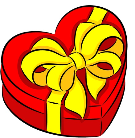 fillings: Red heart gift box with ribbon, isolated Illustration
