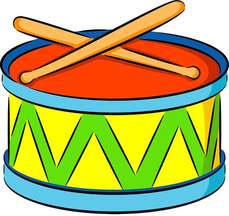 illustration of a cute drum, isolated Vector