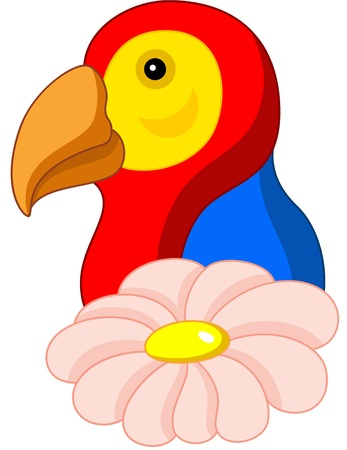 macaw parrot: illustration of a cartoon parrot with flower, isolated Illustration