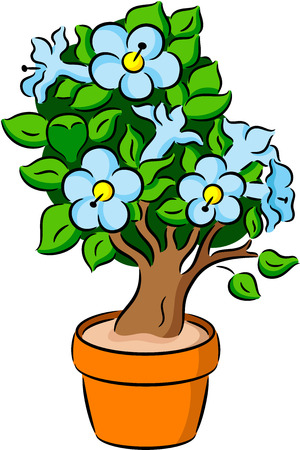 bonsai tree: Illustration of  Bonsai tree with leaves and flowers, isolated