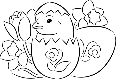 Little Easter chick coming out from a colorful Easter egg, isolated Illustration