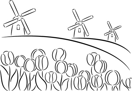 Sketch Holland windmill and tulips, isolated