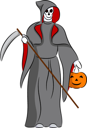 fiend: Illustration of grim reaper with scythe and pumpkin, isolated