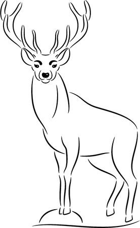 ungulate: illustration of black deer silhouette, isolated