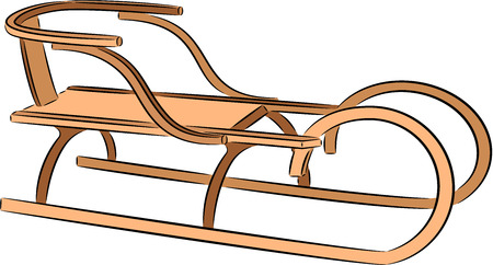 luge: illustration of a winter sled, isolated