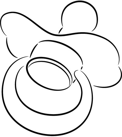 teat: Illustration of a rubber or silicone cartoon pacifier used by a newborn baby to suck or chew on during teething.