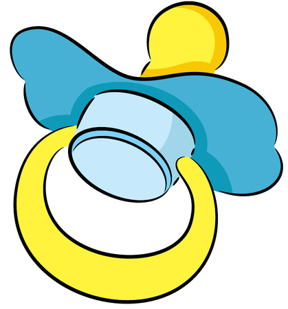 Illustration of a rubber or silicone cartoon pacifier used by a newborn baby to suck or chew on during teething.