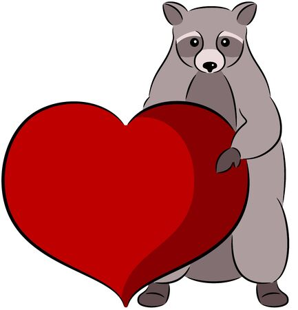 compliments: Raccoon with heart in his paws, isolated Illustration