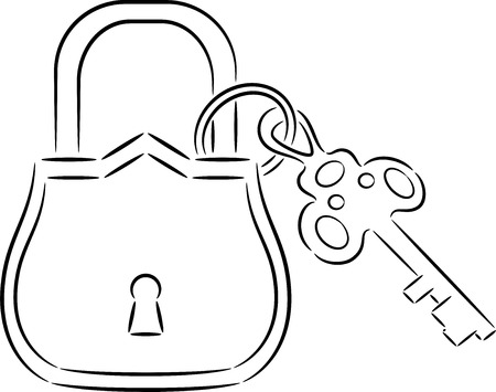 passkey: Illustration of lock and key, isolated