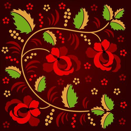 hohloma: Russian traditional floral ornament - Hohloma, isolated