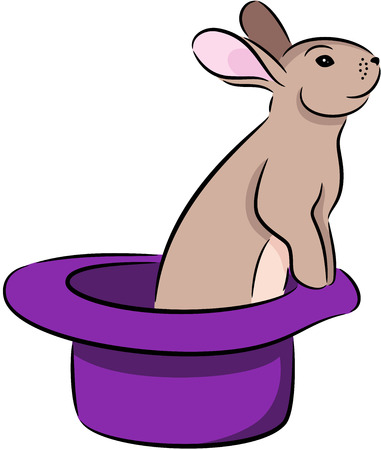 gnawer: illustration of rabbit in magic hat, isolated
