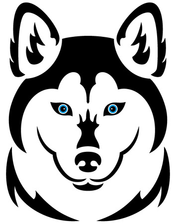 dog outline: Illustration of a husky dog tattoo, isolated Illustration