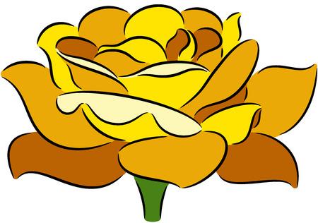 flower rose: illustration with rose flower, isolated Illustration