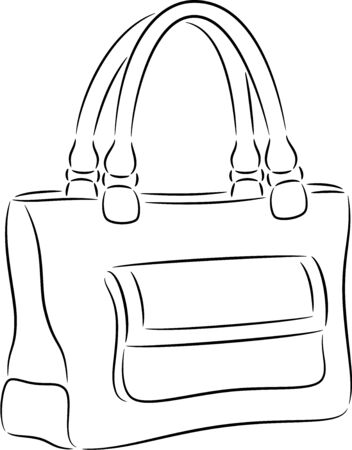 black lady: illustration of woman handbag, isolated
