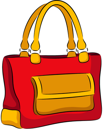lady in red: illustration of woman handbag, isolated