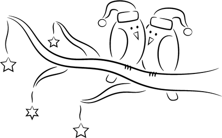 christmas tree illustration: Illustration of cartoon birds on the tree in Christmas