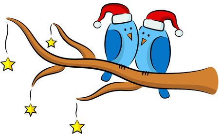 feathery: Illustration of cartoon birds on the tree in Christmas