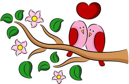 Illustration des oiseaux au printemps de bande dessinée dans l'amour