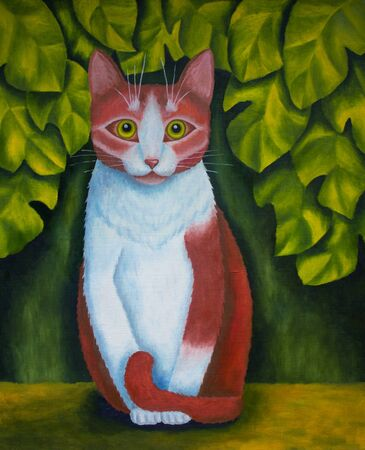 canvas: Original oil painting cat on a background with green leaves on canvas, my own artwork.