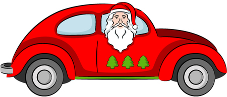 Illustration - Santa Claus ride a car, isolated