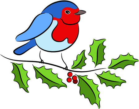 branch isolated: Christmas Robin sitting on Holly branch, isolated Illustration