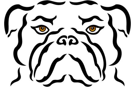 Illustration of portrait of bulldog, isolated Illustration